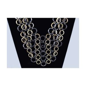 Jewelry - Mixed Metal Hammered Circles Statement Necklace